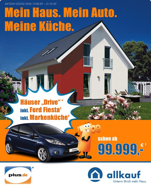 Allkauf und Plus: Haus mit Auto und Küche